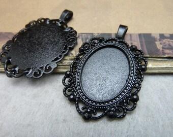 10 Vintage Pendant Trays Black Tone Bezel Setting Fitting 18x25mm Cabochon (YT8185)