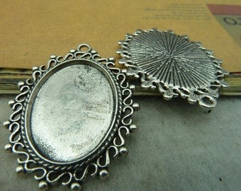 10 Vintage Oval Pendant Trays Antique Silver Tone Bezel Setting Fitting 18x25mm Cabochon (YT3356)