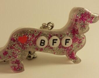 BFF Resin Doxie Keychain