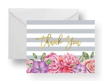 Thank You Cards Floral + Grey Stripes + Gold (Set), stationary, note card set, stripe note cards, flower note cards, floral note cards