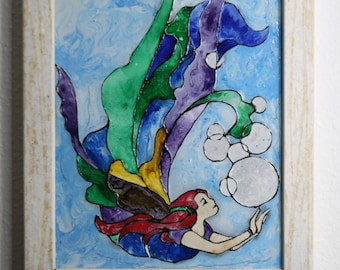 Mermaid stained glass, glass art,.
