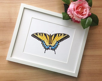 Eastern Tiger Swallowtail Art Print, Wall Decor | Black, Yellow Butterfly Illustration | Colored Pencil Drawing by Katherine Vason