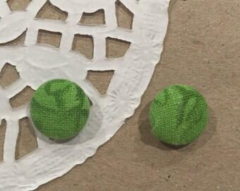 Green, patterned stud earrings