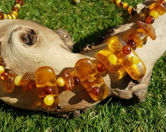 Vintage natural amber bead necklace