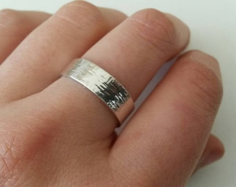 Silver hammered Ring tube n. 2