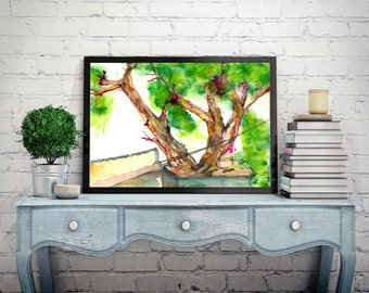 Tree Watercolor Painting,Tree wall art decor,Tree Art Print, Tree home Décor,Watercolor nature wall art,nature wall decor,Tree Painting