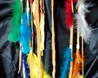 multi-colored leather hairband with feathers feathered headband