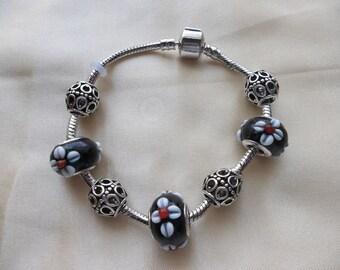Black floral Delight European Charm Bracelet