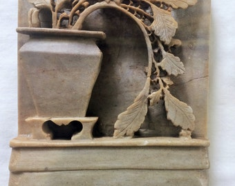 Asian Soapstone Bookend / Paperweight ~ Carved Planter with Potted Flowers and Leaves