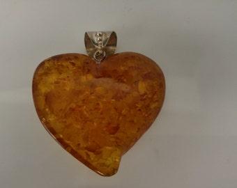 Sterling amber heart pendant