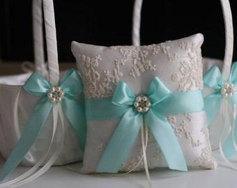 Off-white wedding ring bearer pillow and flower girl basket set / Mint Wedding Pillow Basket Set / Mint lace ring holder / Wedding basket