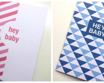 New baby A6 card 'hey baby' for boy or girl