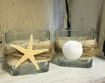 Pair of beach inspired votive holders