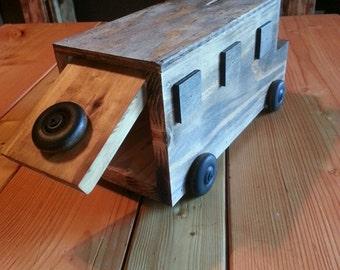 Wooden toy piggy bank