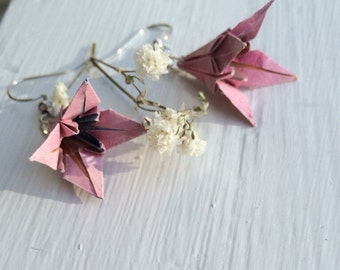 Upcycled Origami Lily Earrings