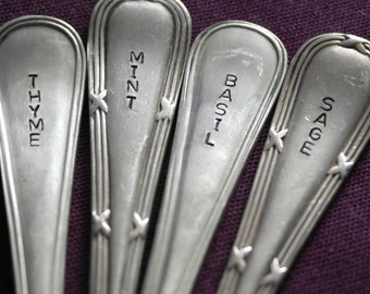 hand stamped cutlery set of 4 herb markers sage basil thyme mint