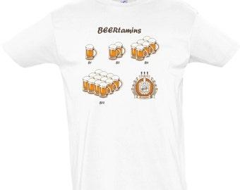 "Digital printing T - shirt for men who love beer ""Beertamins"""