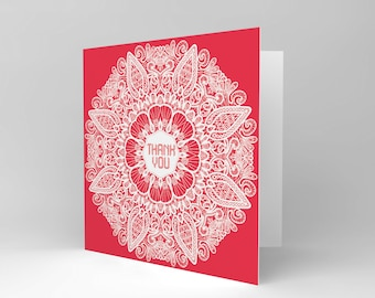New  Friendship Thank You Pattern Red Art Greetings Greeting Card CS1242