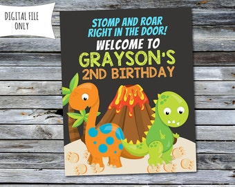 Dinosaur Party 8x10 Welcome Sign (Personalized) Digital Printable File