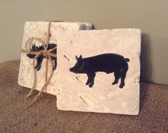 Pig Gift Ideas, Pig Coasters, Stone Coasters, Country Decor, Pig Lover Gift, Gift ideas, Country Home Decor, Farm Decor, Farm Gifts, Pigs