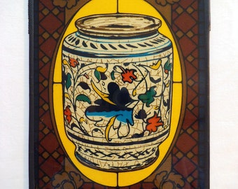 Vintage Pharmaceutical Afrin Stained Glass - Reverse Painted