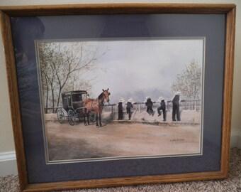 Amish Children - Vintage Signed Original Koenig Print