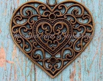 Antique Bronze Scroll Heart pendant (P78)