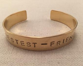 """Hand-stamped """"BESTEST-FRIENDS"""" brass cuff bracelet"""