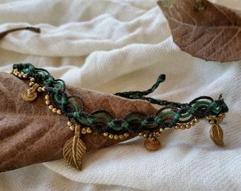 macrame anklet, green anklet, boho anklet, micro macrame, macrame handmade, tribal anklet, gypsy, narkismacrame jewelry, brass beads, hippie
