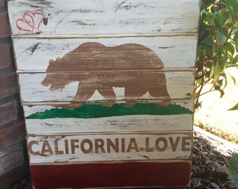 California Love sign, California sign, California bear sign, Rustic California love sign, bear sign, California symbols, California Love