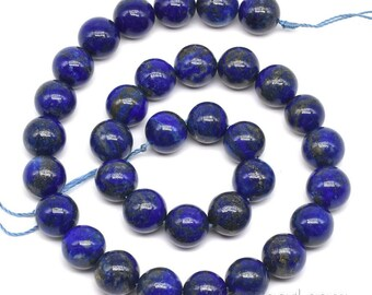 Lapis lazuli beads, 12mm round, large blue gemstone beads, A quality natural lapis lazuli stone, semi precious stone, full strand, LPS2070