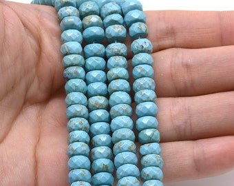 Turquoise beads, 4x8mm roundel faceted, semi precious stone, turquoise faceted beads, natural gemstone strand for necklace, TQS1140