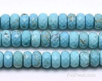 Turquoise beads, 5x10mm roundel faceted, gemstone loose beads, full strand, turquoise stone natural gem beads wholesale, TQS1160