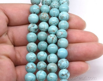 Turquoise beads, 8mm round shape, turquoise howlite stone, gemstone beads, natural loose beads jewelry for making necklace, TQS2040
