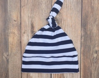 Knotted Beanie Hat - Navy Stripe - Baby Knotted Beanie - Knotted Beanie - Baby Hat - Baby Boy Hat - Baby Beanie