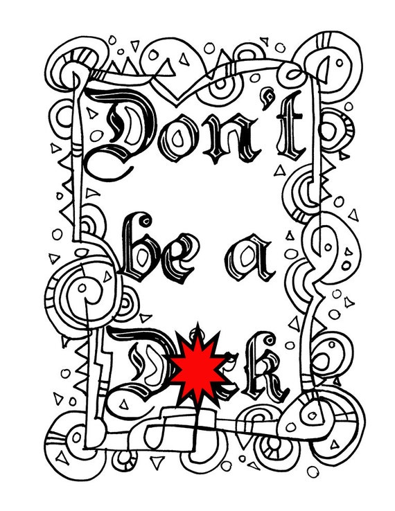 Swear Word Coloring Sheet Page Printable Don T Dck