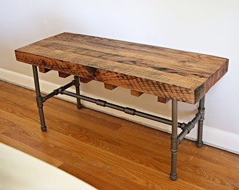 Wood bench, industrial bench, industrial wood bench, reclaimed bench, industrial coffee table, wood coffe table, wood table