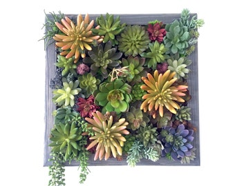 Succulent Arrangement, Artificial Succulent Wall Garden, Succulent Vertical Garden on Handmade Wood Frame