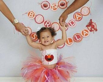 personalized Elmo first birthday tutu dress,custom Elmo birthday tutu,Sesame Street birthday tutu,personalized Elmo birthday tutu dress