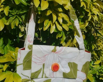 Magnolia bag in cream, green and rusty red