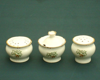 Vintage spices set porcelain table spices set salt cellar mustard jar salt pepper shaker soviet vintage collectibles spices set made in USSR
