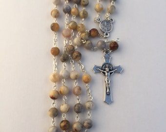 Crazy Lace Agate Rosary