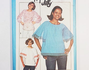 70s Blouse Pattern   Simplicity 8206 Pullover Tops Patter   70s Peasant Top Sewing Pattern