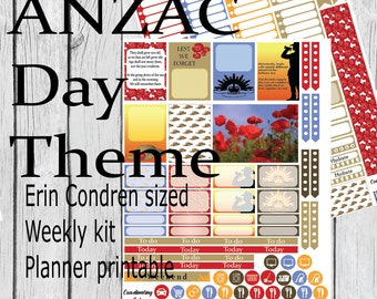 ANZAC Day Theme Weekly Printable Planner Kit - Erin Condren
