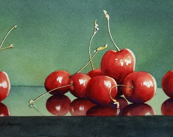 Red Cherries, fruit, still life watercolor print