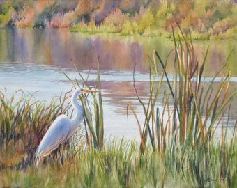 "landscape art, egret in a marsh, marsh painting, watercolor art, 8x10"" print of an original painting"