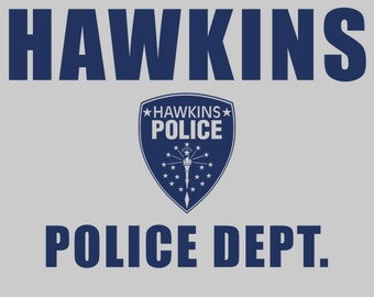 Hawkins Police Dept. Shield -  Stranger Things Men's Unisex T-Shirt - Sci-Fi Geek TV Parody Clothing