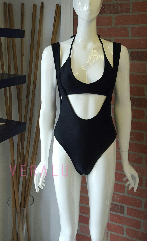 VERALU Noir suspender one piece swimsuit bodysuit set