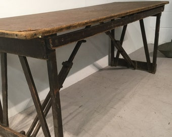 Antique Solid Pine Trestle Table