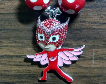Owl Girl Super Hero Toddler Bubblegum Necklace.  Inspired by Disney brand character Owlette.  Not a Disney product